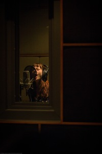 Rebecca in the sound booth.