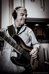 Michael in the studio with the Fender Jazz bass.